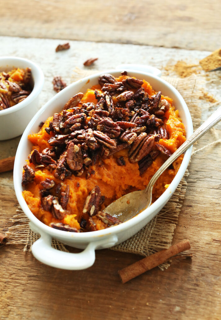 MLW Thanksgiving Recipe Butternut-Squash-Sweet-Potato-Mash-with-Maple-Cinnamon-Pecans-Perfect-for-fall-and-Thanskgiving-vegan-glutenfree-fall-thanksgiving-healthy-recipe-fall